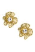 GlitZ Finery Textured Flower Crystal Accent Post Earring