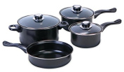 Euro-Ware 408 Essential Modern 7 Piece Non-Stick Carbon Steel Cookware Set with Glass Lids, Multiple Sizes, Black