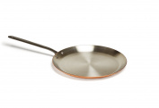 """Mauviel 6460.30 Crepes Pan 24cm/"""" Cast stainless Steel Handle with Iron Colour Finish, Copper, NA"""