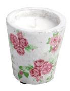 Esschert Design USA Aged Ceramic Small Candle Pot Rose Print