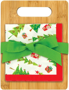 Brownlow Kitchen Brownlow Gifts Bamboo Cutting Board Gift Set, Season of Joy, Green/Red