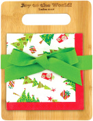 Brownlow Kitchen Brownlow Gifts Bamboo Cutting Board Gift Set with Scripture, Season of Joy, Green/Red