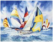 Magic Slice Non-Slip Flexible Gourmet 30cm x 38cm Sailboats Cutting Board by Kathleen Parr McKenna, Multicolor