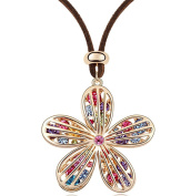 Sojewe Women Flower Long Leather Necklace Colourful Crystal on Pendant Gold Plated Fashion Accessories