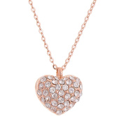 Sojewe Women Fashion Love Heart Necklace Crystal on Pendant Chain Rose Gold Plated