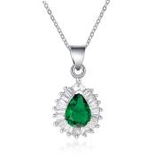 Simulated Diamond Pear Shaped, Simulated Emerald Pendant Necklace