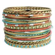 Set of 22 Golden, Turquoise & Coral Bangle Bracelets
