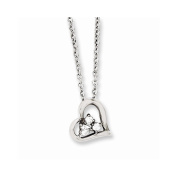 Top 10 Jewellery Gift Stainless Steel Heart w/CZs Pendant 46cm Necklace