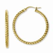 Best Designer Jewellery Stainless Steel Yellow IP-plated Textured Hollow Hoop Earrings