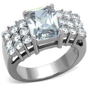 Women's Stainless Steel 316 Radiant Cut 4.57 Carat Zirconia Engagement Ring