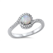 Swirl Round White Simulated Opal Cubic Zirconia Ring Sterling Silver 925
