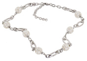 Stainless Steel Mosaic Mother-of-Pearl 50cm Inch + Ext Beaded Necklace