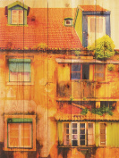 Gizaun Art Painted House 70cm by 90cm Inside/Outside Wall Art, Full Colour on Cedar