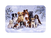 Caroline's Treasures Winter Dogs Glass Cutting Board, Large, Multicolor