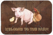 Caroline's Treasures SB3083LCB Welcome to the Farm with the Pig and Chicken Glass Cutting Board, Large, Multicolor