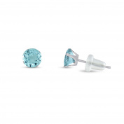 Solid 10k White Gold Round 2mm Simulated CZ Birthstone Stud Earrings