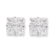 Sterling Silver 10mm Square CZ 4 Prong Stud Earrings