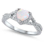 Sterling Silver Women's .925 Cubic Zirconia CZ Opal Infinity Heart Halo Band Promise Ring Size 4-10