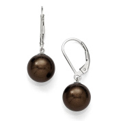 Sterling Silver Majestik 10-11mm Round Brown Shell Bead Leverback Earring