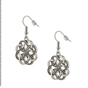 [S33515] Celtic Knot Earrings, Rhodium Plated