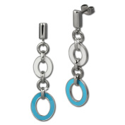 Amello stainless steel Drop Post earring, oval white and turquoise enamelled, original Amello ESOG01T
