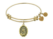 "Angelica Collection Antique Stipple Finish Brass ""a Mother's Love"" Expandable Bangle"