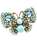Adjustable Turquoise Blue Beaded Butterfly Goldtone Stretch Ring
