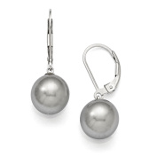 Sterling Silver Majestik 10-11mm Round Grey Shell Bead Leverback Earring