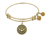 """Angelica Collection Antique Smooth Finish Brass """"claddagh"""" Expandable Bangle"""