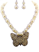 Fashion Jewellery ~ Crystal Butterfly with Cream Beads Necklace and Earring Set