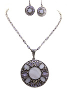 Fashion Jewellery ~ Circle Cut Out with White Epoxy Stone Necklace and Earring Set