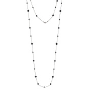 Fashion Black-Metal Chain With Black Faceted Long Necklace Women's Girl's Gift For Her