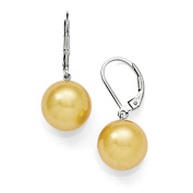 Sterling Silver Majestik 12-13mm Round Yellow Shell Bead Leverback Earring