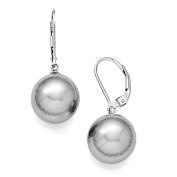 Sterling Silver Majestik 12-13mm Round Grey Shell Bead Leverback Earrings
