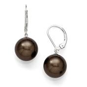 Sterling Silver Majestik 12-13mm Round Brown Shell Bead Leverback Earrings