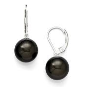 Sterling Silver Majestik 12-13mm Round Black Shell Bead Leverback Earrings