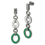 Amello stainless steel Drop Post earring, oval white and green enamelled, original Amello ESOG01G
