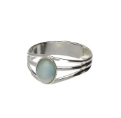 Handmade Celtic 3 Band Light Green Moonstone Pewter Ring