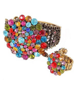 Fashion Jewellery ~ Aged Goldtone Multi Colour Crystals Slave Bracelet Ring
