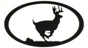 7055 Running Deer Oval in Metal Wall Art, Black