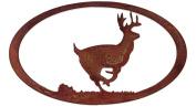 7055 Inc Running Deer Oval in Metal Wall Art, Natural Rust Patina