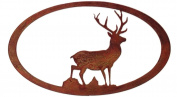 7055 Stag Oval in Rust Metal Wall Art, Natural Rust