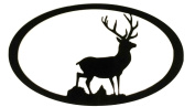 7055 Inc Stag Oval Scene Metal Wall Sign, Hammered Black