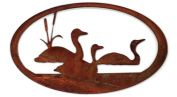 7055 Inc Loon Oval Scene in Metal Wall Art Sign, Natural Rust Patina