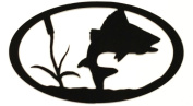 7055 Inc Turning Fish Oval in Metal Wall Art, Hammered Black
