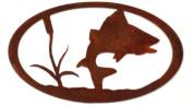 7055 Turning Fish Oval in Metal Wall Art, Rust