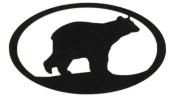 7055 Bear Oval in Metal Wall Art, Black