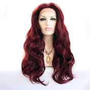 Heat resistant fibre 99j body wave synthetic lace front wig for white women