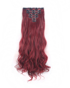 FIRSTLIKE 160g 60cm Rose Red Curly Double Weft Clip In Hair Extensions Thicker Full Head Straight Curly 7 Pieces 16 Clips Colourful Smooth Silky For Women Beauty