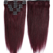 50cm 105g Clip in Remy Human Hair Extensions Full Head 8 Pieces Set Long length Straight Very Soft Style Real Silky for Beauty #99J Wine Red